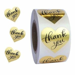 2/$12 50pcs Metallic Gold Heart Thank You Stickers